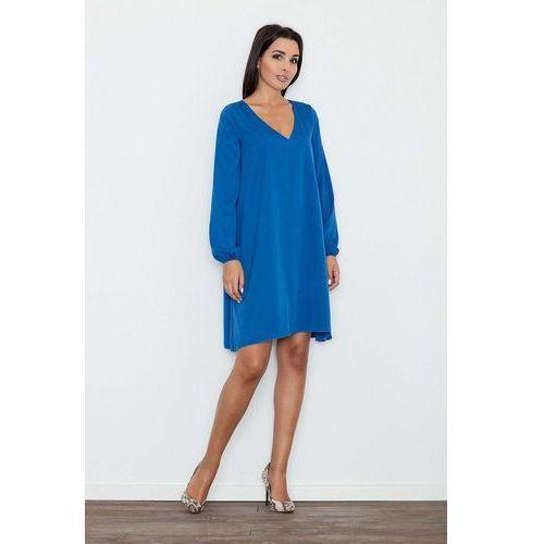 Niebieska Sukienka Trapezowa z Długim Rękawem, w 4 rozmiarach