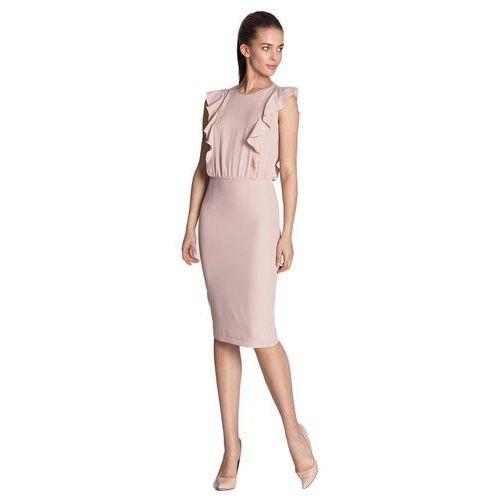 Sukienka ołówkowa z pionowymi falbanami - róż - S111, 76119