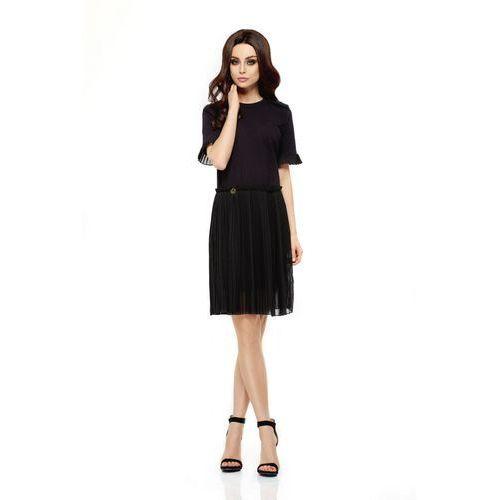 Zjawiskowa sukienka z plisowaniami l242 czarny, Lemoniade