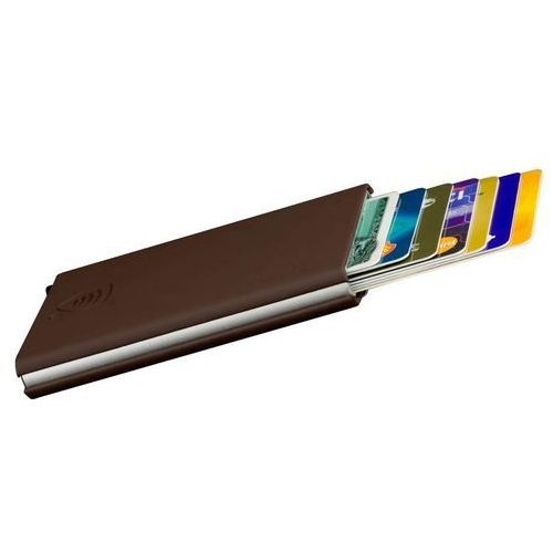 ✅ Etui wysuwane karty ochrona RFID aluminiowe twarde skóra (brąz) - Brąz