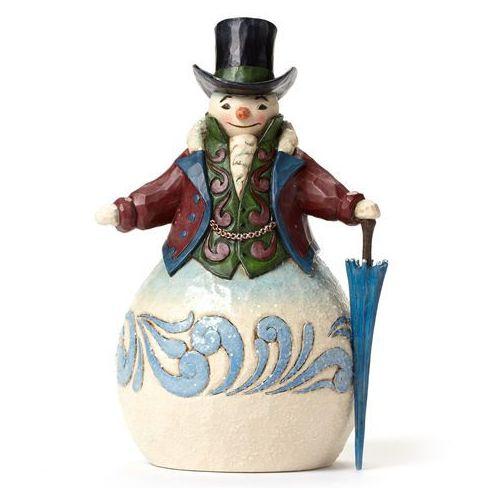 Bałwanek w kapeluszu z parasolem styl wiktoriański Victorian Snowman withUmbrella 4047678 Jim Shore figurka ozdoba świąteczna