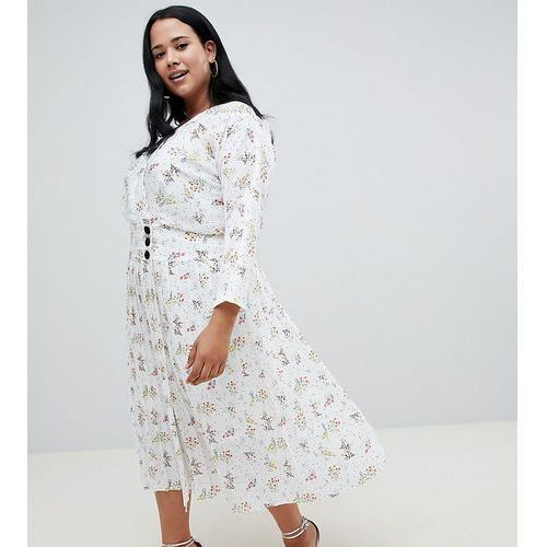ASOS DESIGN Curve pleated maxi dress with side buttons in ditsy floral - Multi, 1 rozmiar