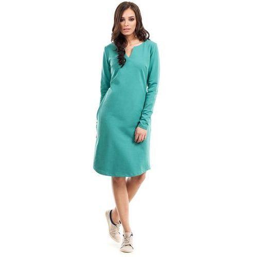 Zielona Sukienka Trapezowa z Długim Rękawem, trapezowa