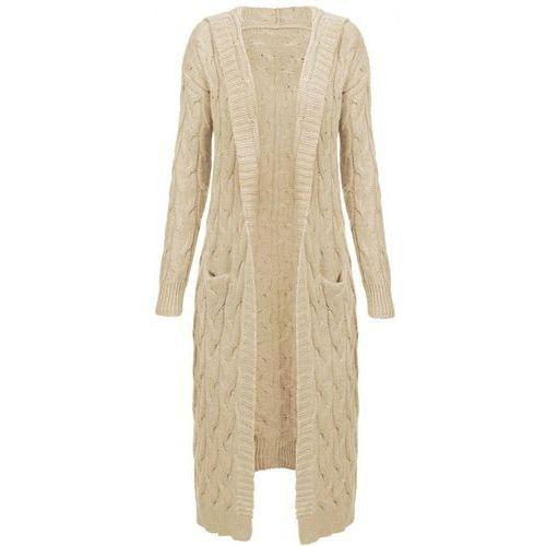 Długi sweter z kapturem i kieszeniami beżowy (111art) - beżowy marki Made in italy