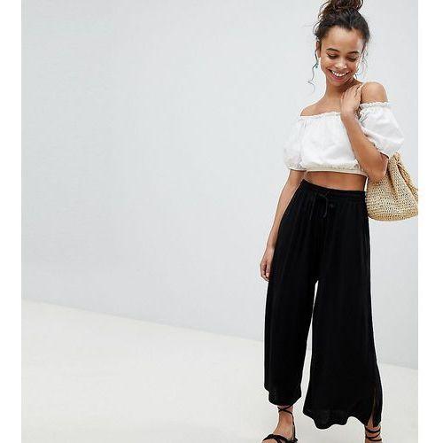 Asos petite Asos design petite cropped drawstring trousers - black