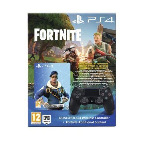 Kontroler bezprzewodowy SONY PlayStation DUALSHOCK 4 v2 Czarny + Dodatkowa zawartość do gry Fortnite (0711719756712)