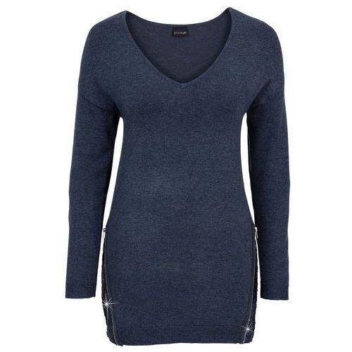 Sweter z aplikacją z cekinów bonprix ciemnoniebieski melanż, kolor niebieski