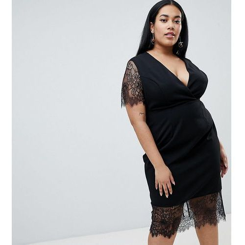 Asos design curve pencil dress with v neck and lace sleeves and hem - black marki Asos curve