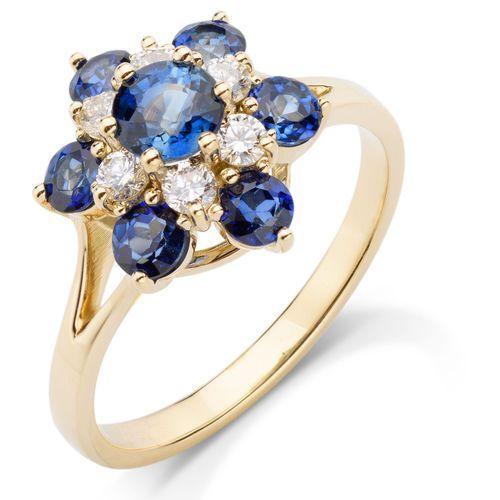 BLUE STAR - pierścionek z szafirami i brylantami (pierścionek)