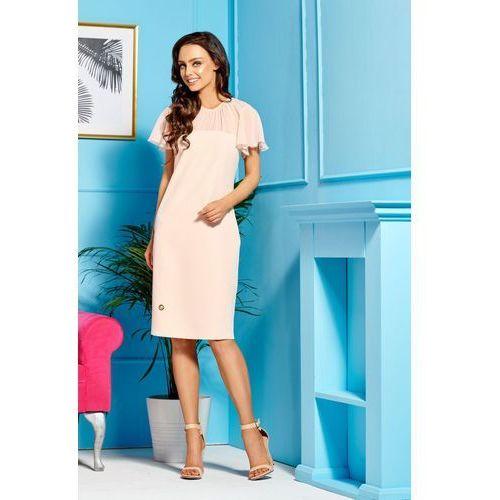 Elegancka sukienka z szyfonowymi rękawami i dekoltem l299 łosoś marki Lemoniade