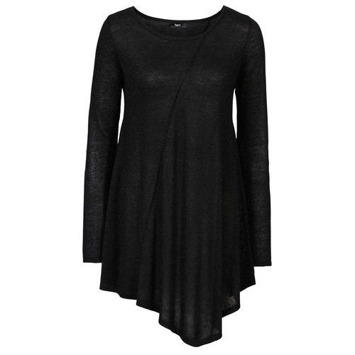 Sweter z błyszczącą nitką, długi rękaw bonprix czarny - metaliczny srebrny
