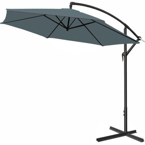 Wideshop Duży parasol ogrodowy 300 wysięgnik boczny szary - antracyt (4250525320022)