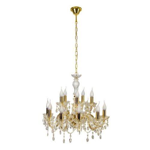 Żyrandol LAMPA wisząca MARIA TERESA 30-94608 Candellux metalowa OPRAWA świecznikowa kryształki złoty, 30-94608