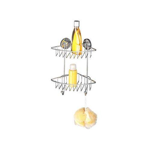 Narożna półka łazienkowa BARI, Vacuum-Loc, 2 poziomy - stal chromowana, WENKO