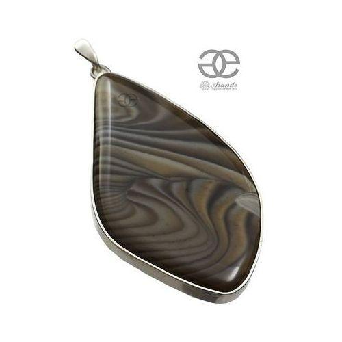 Arande Krzemień pasiasty piękny duży wisiorek srebro 925