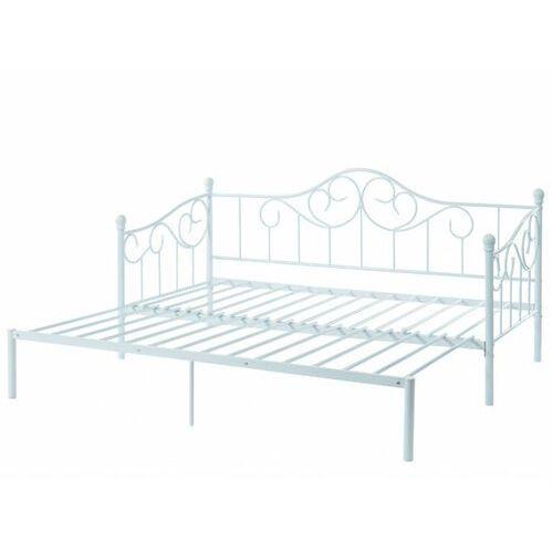 Wysuwane łóżko sebille – metal – 90 × 200 cm – kolor biały marki Vente-unique