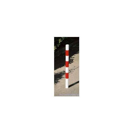 """Słupek parkingowy okrągły wygrodzeniowy biało-czerwony o śr. 76 mm - """"strażacki"""""""
