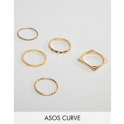 Asos design curve pack of 5 rings in engraved and cut out square design in gold - gold marki Asos curve