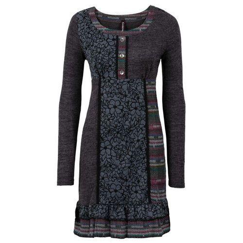 Sukienka dzianinowa z kolorowymi wstawkami bonprix ciemnoszary melanż, kolor szary
