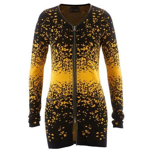 Długi sweter rozpinany z dzianiny żakardowej bonprix czarno-żółty szafranowy wzorzysty, długi