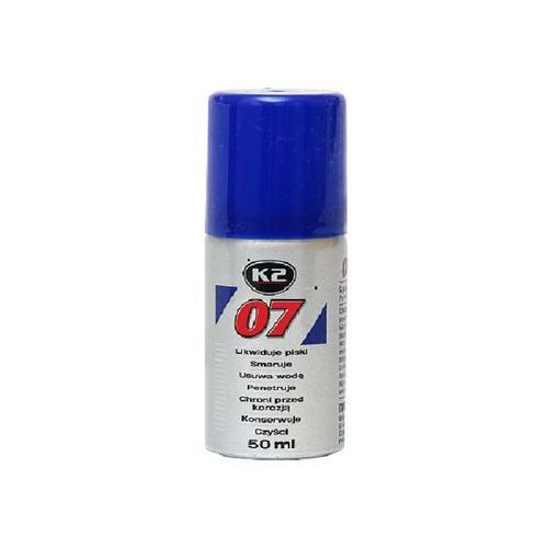 K2 07 50ml likwiduje piski, smaruje, czyści, penetruje, chroni przed korozją., 0705