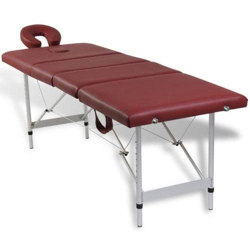 Vidaxl  czerwony składany stół do masażu 4 strefy z aluminiową ramą