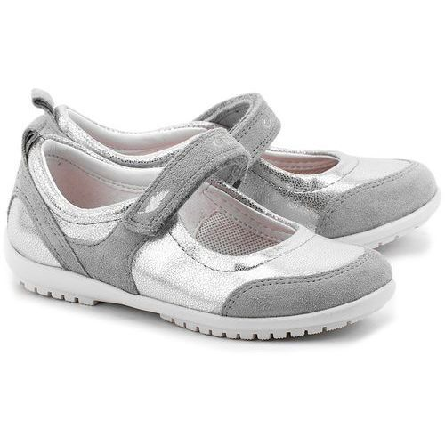 Junior Vega - Srebrne Ekoskórzane Baleriny Dziecięce - J42B1D 0AJ22 C1007 ze sklepu MIVO Shoes Shop On-line