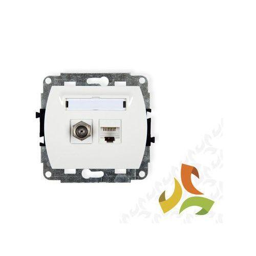 Gniazdo F (SAT)+Gniazdo komputerowe białe TREND KARLIK (5903418066260)