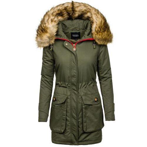Khaki kurtka zimowa damska Denley 1968 - KHAKI, kolor zielony