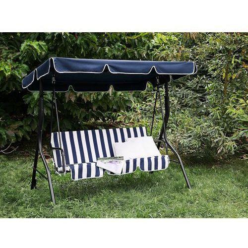 Beliani Huśtawka niebiesko-biała - meble ogrodowe - stal - ławka - chaplin