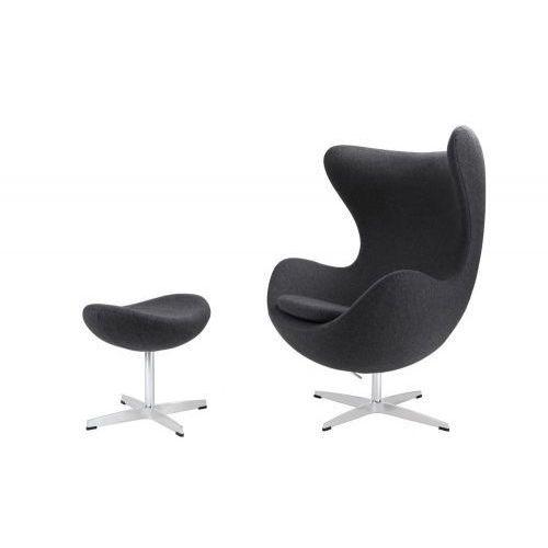 Fotel Jajo z podnóżkiem kaszmir 41 szary ciemny Premium, 82894 (7043075)
