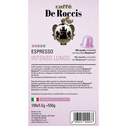 Nespresso kapsułki Intenso lungo de roccis kapsułki do nespresso – 100 kapsułek (8003012004433)