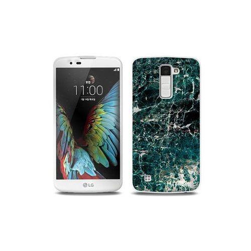 LG K10 - etui na telefon Full Body Slim Fantastic - zielony marmur