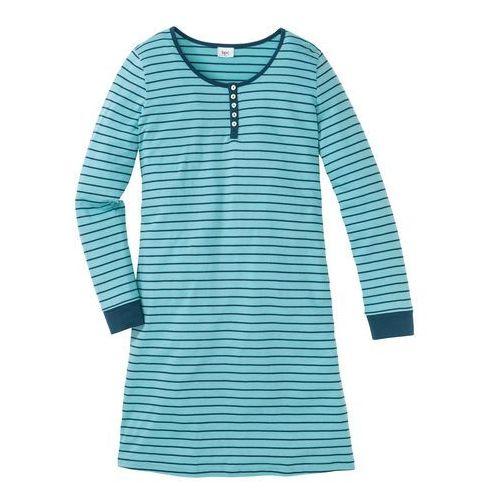 Koszula nocna, bawełna organiczna niebieskozielony - zielony w paski, Bonprix, S-XXXXL