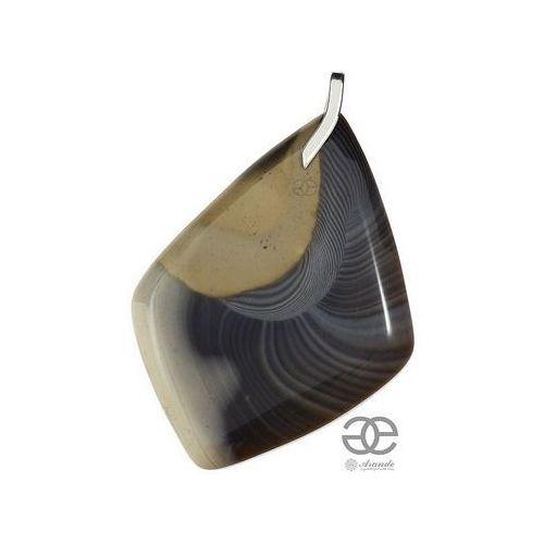 Krzemień pasiasty piękny duży wisiorek srebro 925, marki Arande