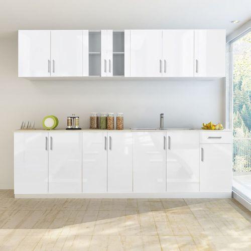 Zestaw mebli kuchennych na wysoki połysk, 8 części, biały