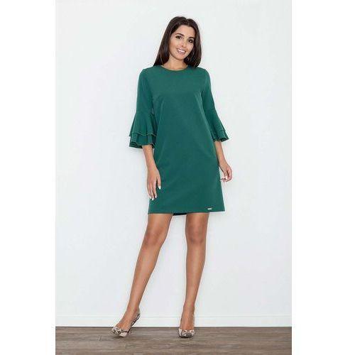 Figl Zielona elegancka sukienka z hiszpańskim rękawem