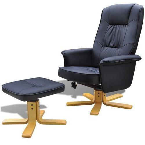 vidaXL Odchylany fotel TV ze sztucznej skóry czarny z podnóżkiem - produkt z kategorii- Fotele