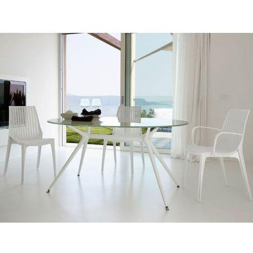 Stół Metropolis II transparentny nogi białe Machina Meble 5306-400-7011-VB-002 - produkt dostępny w sfmeble.pl