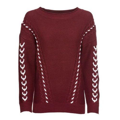 Sweter z krzyżykowym haftem bonprix ciemnoniebieski z haftem, kolor czerwony