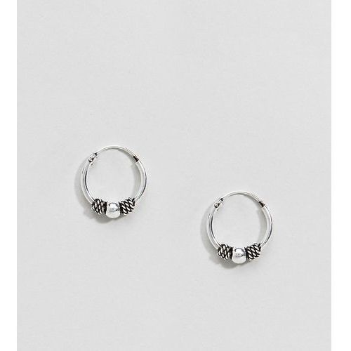 Asos design sterling silver engraved rope wrapped ball hoop earrings - silver
