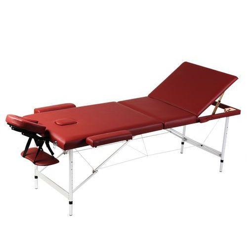 vidaXL Czerwony składany stół do masażu 3 strefy z aluminiową ramą - produkt z kategorii- Akcesoria do rehabilitacji