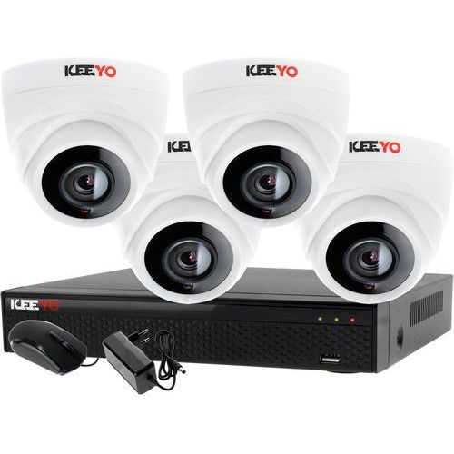 Keeyo Monitoring zestaw 4 kamerowy do szkoły przedszkola 4w1 4x kamera lv-al1m2fdpwh rejestrator 4 kanałowy lv-xvr44n-ii p2p