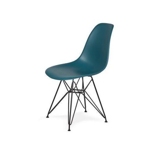 King home Krzesło plastikowe dsr black marynarski niebieski.23 - podstawa metalowa czarna (5900168804968)