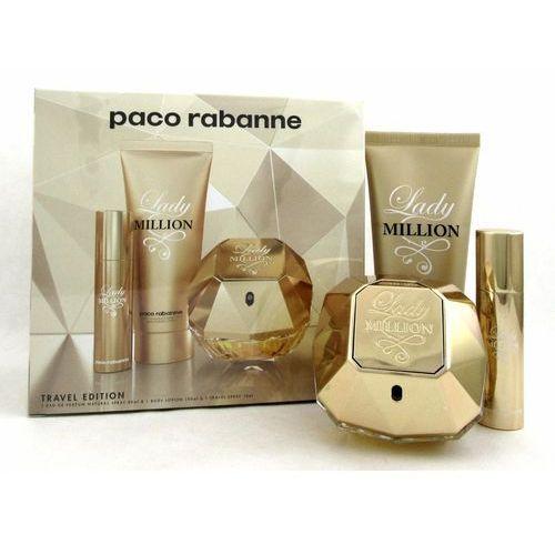 Paco rabanne lady million, zestaw podarunkowy, woda perfumowana 80ml + balsam do ciała 100ml + woda perfumowana 10ml
