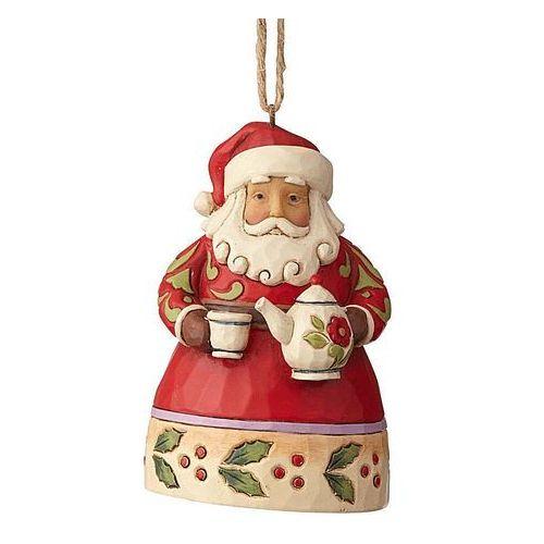 Jim shore Mikołaj zawieszka mini santa with teapot (hanging ornament) 6001519 figurka ozdoba świąteczna
