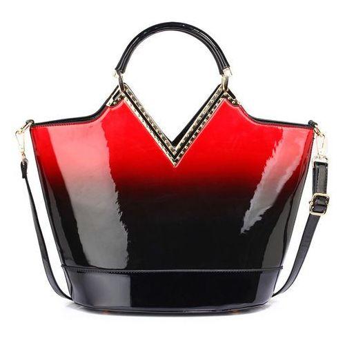 Lakierowana torebka cieniowana czarna z czerwonym - czarny ||czerwony