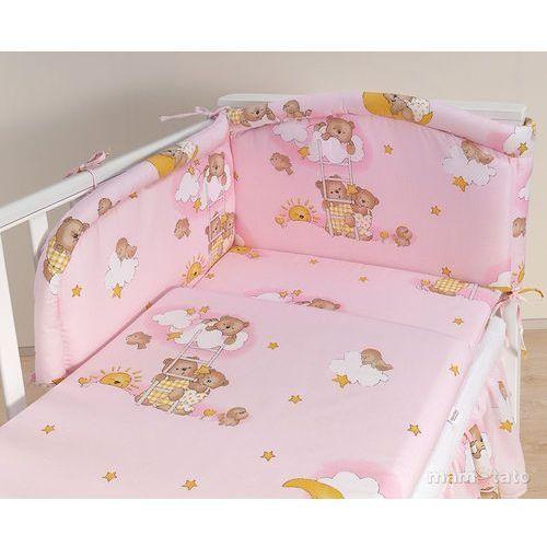 MAMO-TATO pościel 3-el Drabinki z misiami na różowym tle do łóżeczka 60x120cm (komplet pościeli dla dziecka)