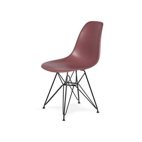 Krzesło plastikowe dsr black koktajl malinowy.38 - podstawa metalowa czarna marki King home