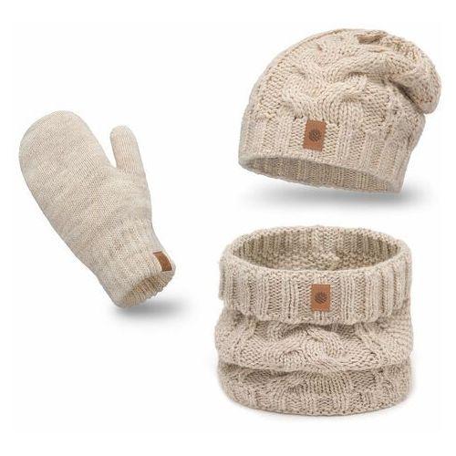 Pamami Ciepły komplet , czapka, komin i rękawiczki - beżowy